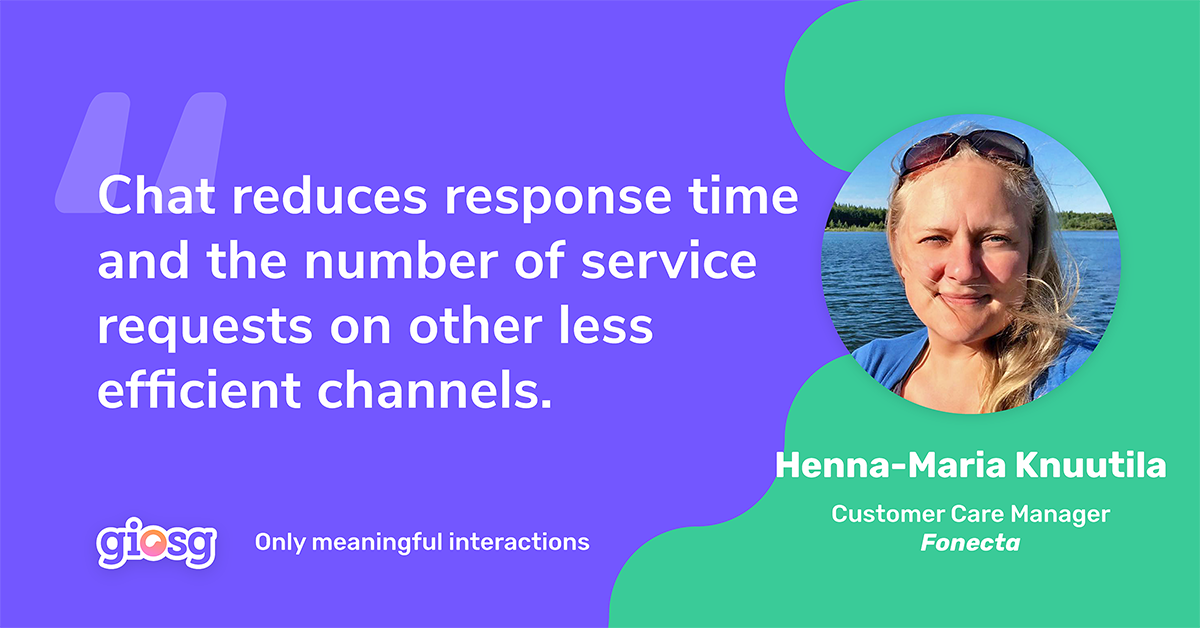 Quote from Henna-Maria Knuutila about reducing response time through chat