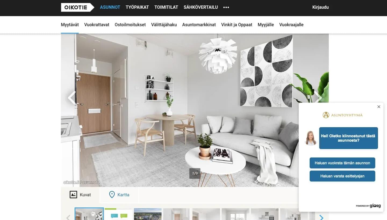 Asuntoyhtymä chatbot on Oikotie property portal
