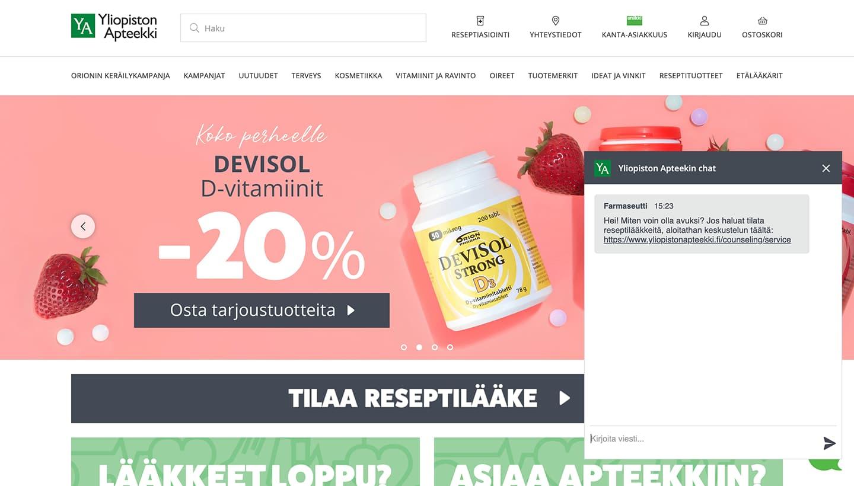 Live chat on Yliopiston Apteekki online store