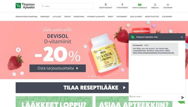 Chatbot on Yliopiston Apteekki homepage