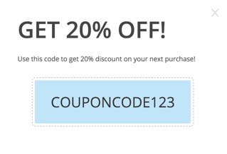 Discount coupon code example