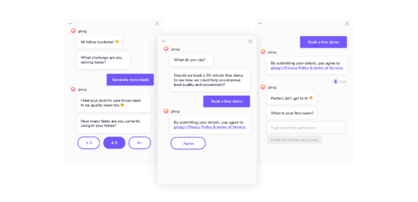 Lead Generation chatbot example for booking a demo