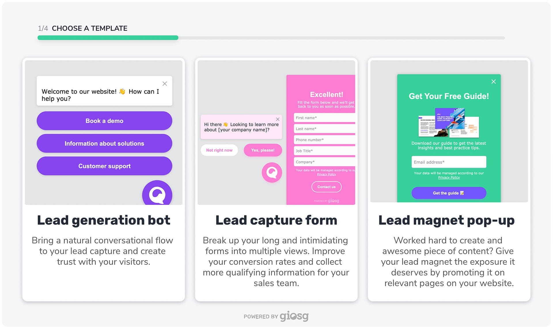 giosg lead generation  templates