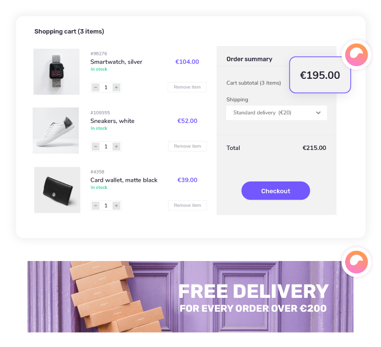 Offer free delivery with giosg Basket feature