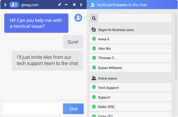 Inviting Skype for Business users to join the conversation is easy, meaning the customer can be connected to the right professional instantly.